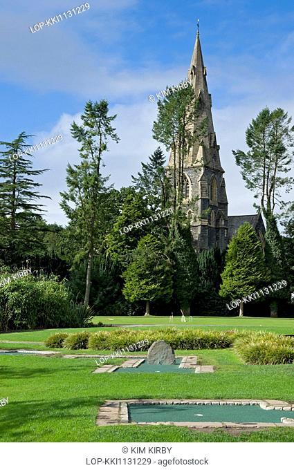 England, Cumbria, Ambleside. Looking across White Platts recreation area towards St Mary the Virgin Church