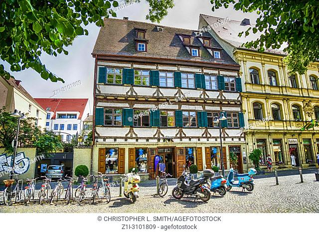 Scooters parked outside a beer Keller in Ulm, Germany