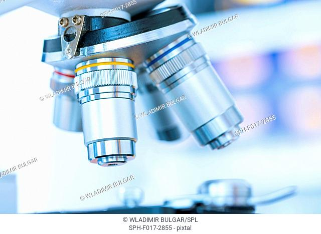 Laboratory microscope, close up