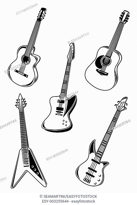 Set of music acoustic and electrical guitars isolated on white background