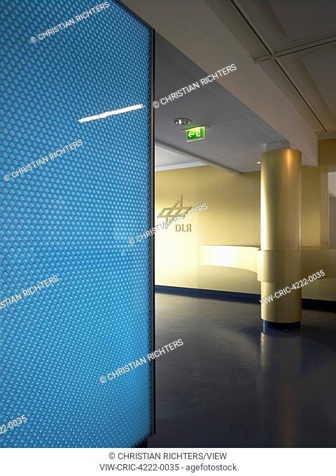 Corridor and DLR logo. German Aerospace Centre (DLR), Bremen, Germany. Architect: Kister Scheithauer Gross, 2012