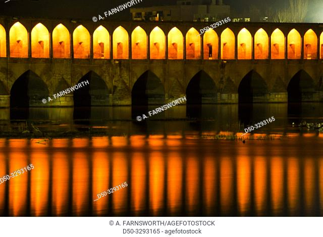 Isfahan, Iran The bridge with 33 arches over the Zayande Rud river
