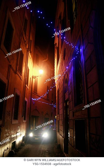christmas lights in street in rome italy