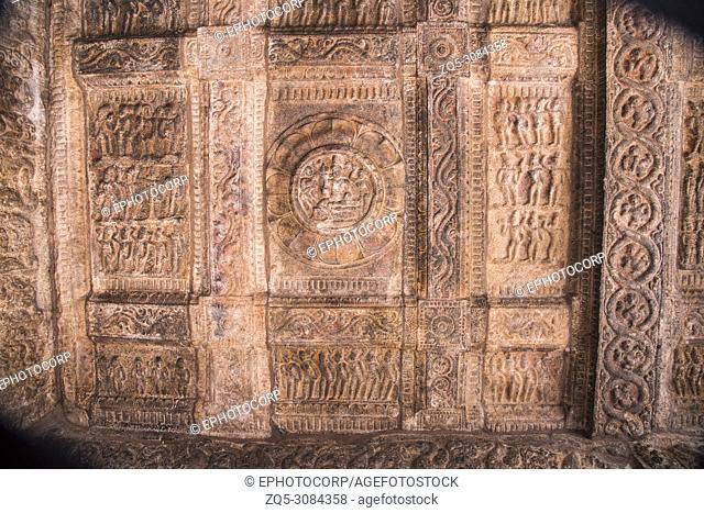 Carved ceiling of the Shiva Temple . Airavatesvara Temple, UNESCO World Heritage Site, Darasuram, Tamil Nadu, India