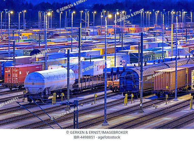 Parked freight cars on tracks at night, marshalling yard Maschen, Maschen, Lower Saxony, Germany