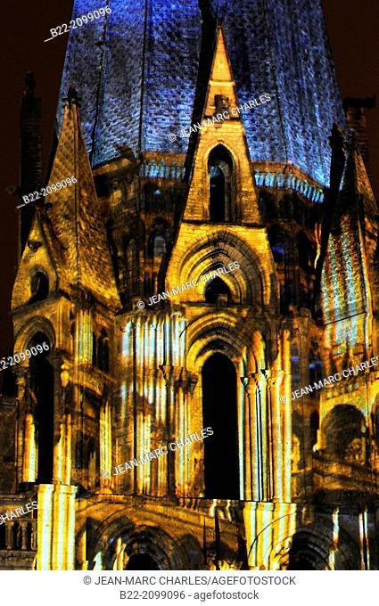 'Chartres en Lumières', Lights of Chartres, light show on Chartres cathedral, Chartres, Eure-et-Loir, Centre, France. Lighting designer : Benoît...