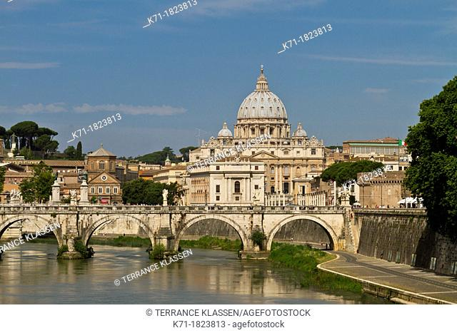 The Tiber River and the Vatican in Rome, Italy