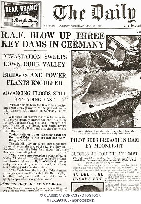 Article from The Daily Telegraph of May 18, 1943 reporting on Operation Chastise, an attack on German dams carried out on 16-17 May 1943 by Royal Air Force No