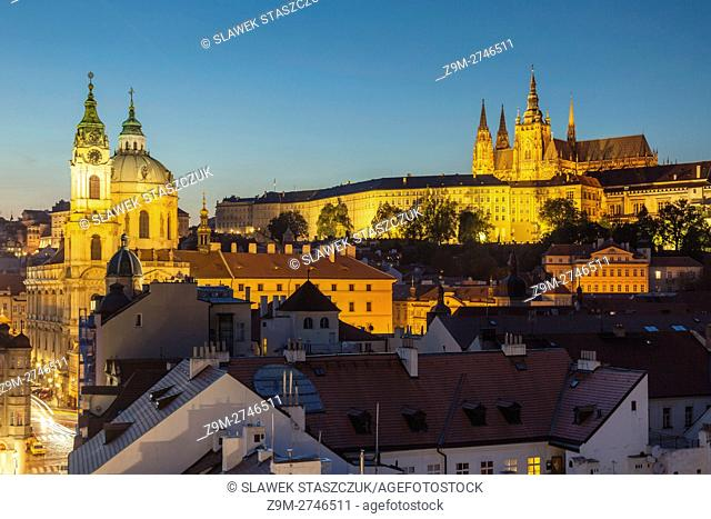 Night falls in Mala Strana (Lesser Town), Prague, Czech Republic. Hradcany in the distance