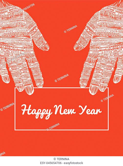White lace gloves. Giving greeting card in two hands. Red and white new year greeting card