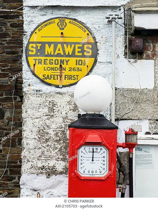 United Kingdom, England, Cornwall, Old Petrol Pump And Aa Sign; St Mawes