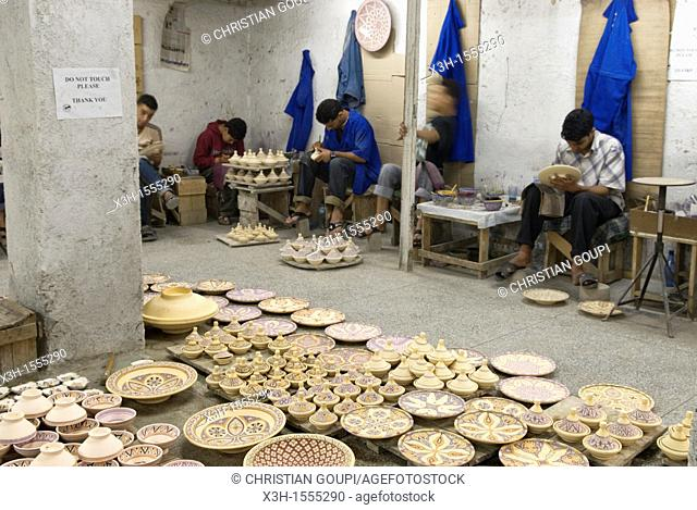 painting workshop, pottery, Fes, Morocco, North Africa