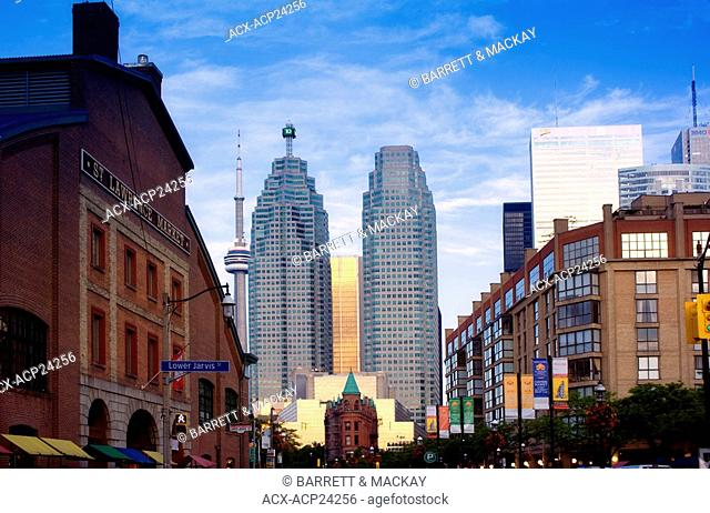 View of Toronto skyline from St. Lawrence Market, Toronto, Ontario, Canada