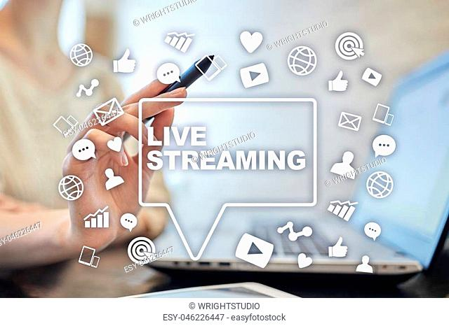 Live streaming on virtual screen. Webcast. SMM. Media marketing