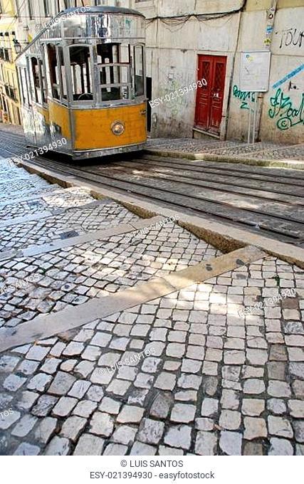 Bica elevator tram in Lisbon, Portugal