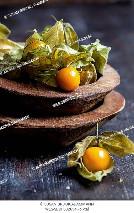 Wooden bowls of physalis