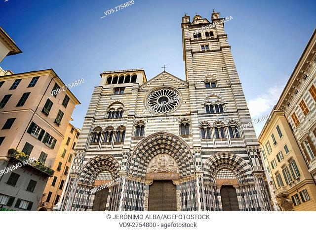 Gothic cathedral of San Lorenzo. Old Town. Genoa. Mediterranean Sea. Liguria, Italy Europe