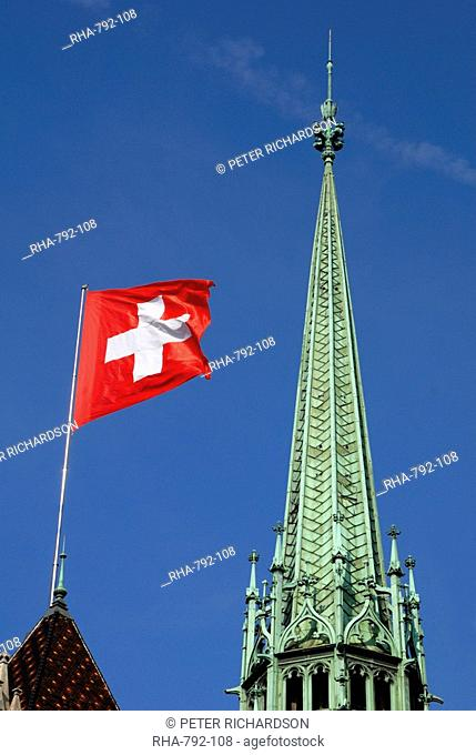 Ornate spire of St. Pierre Cathedral, old town, Geneva, Switzerland, Europe