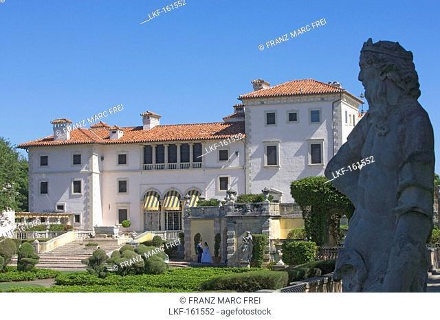 Exterior view of the Villa Vizcaya under blue sky, Miami, Florida, USA