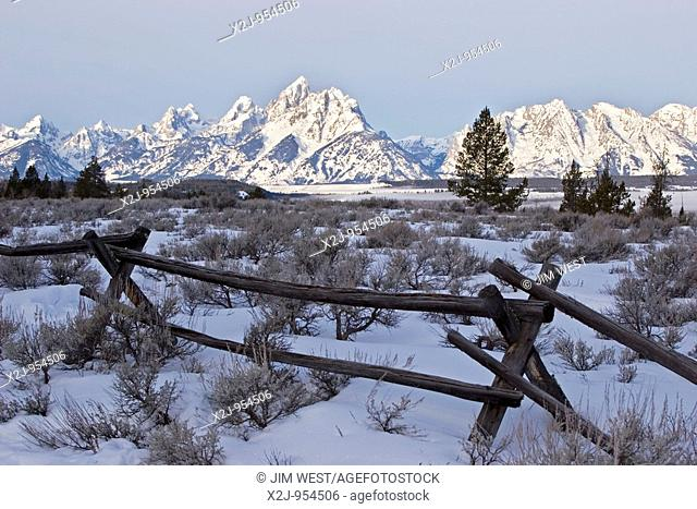 Moose, Wyoming - The Teton mountain range, from the Triangle X Ranch, a guest ranch in Grand Teton National Park