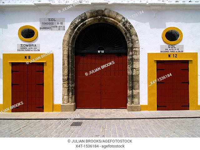 Three doors into Plaza de toros, or the Bull Ring  Seville, Andalusia, Spain