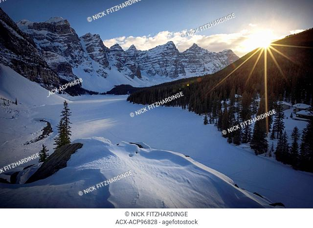 Sunset at Moraine Lake in winter from the top of the rockpile, Banff National Park, Alberta, Canada