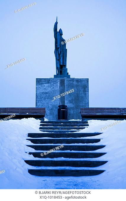 Statue of Ingolfur Arnarson, the Norseman who founded Reykjavik in 874  Downtown Reykjavik, Iceland
