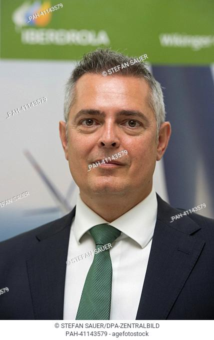Eduardo González, media spokesman of comany Iberdrola, stands at the signing of the contract about the use of 100,000 sq m for the storage and installation of...