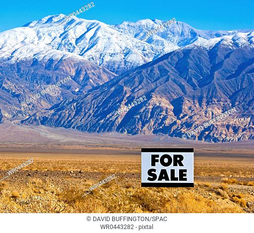 For Sale Sign in Mountainous, Desert Landscape