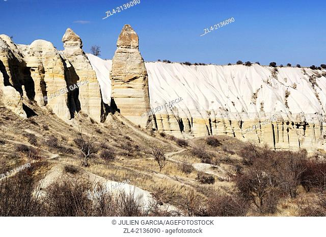 Fairy chimneys in the white Valley, also known as the Love Valley. Turkey, Central Anatolia, Nevsehir Province, Cappadocia, Goreme national park