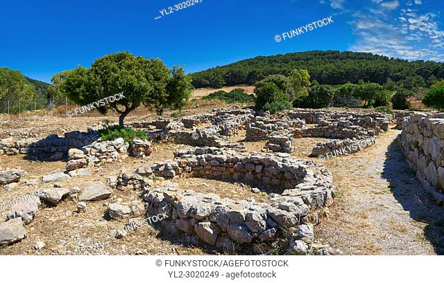 Pictures and image of the exterior ruins of Palmavera round prehistoric Nuragic village archaeological site, middle Bronze age (1500 BC), Alghero, Sardinia