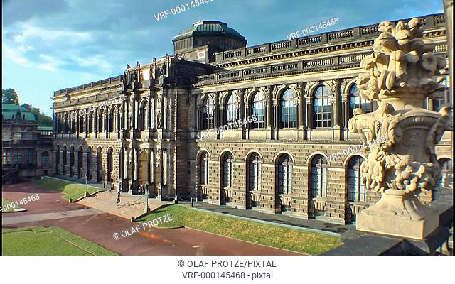 The Gemälde Gallery at the Zwinger in the historical town centre of Dresden
