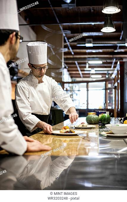 A crew of chef's working in a commercial kitchen
