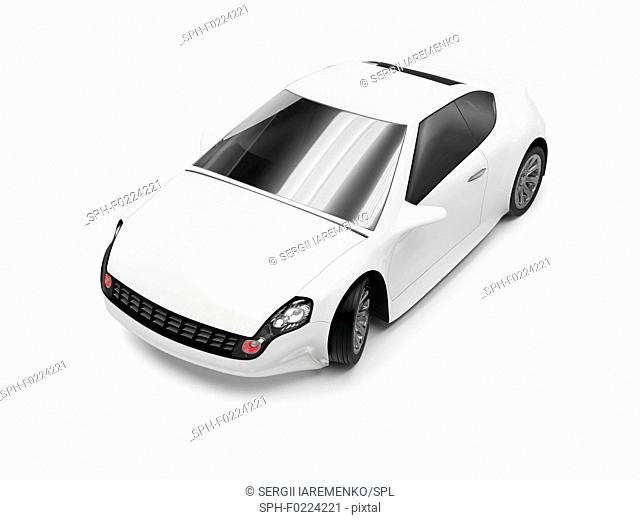 Abstract white car, illustration
