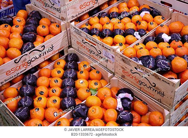 Tangerines, Mercabilbao fruits and vegetables wholesale market, Basauri, Bilbao, Bizkaia, Euskadi, Spain