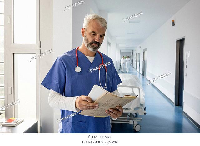 Male doctor reviewing medical record in hospital corridor