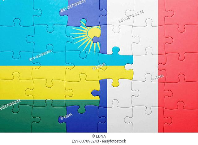 puzzle with the national flag of rwanda and france . concept