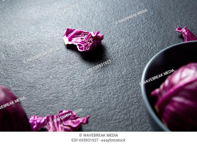 Red cabbage on slate