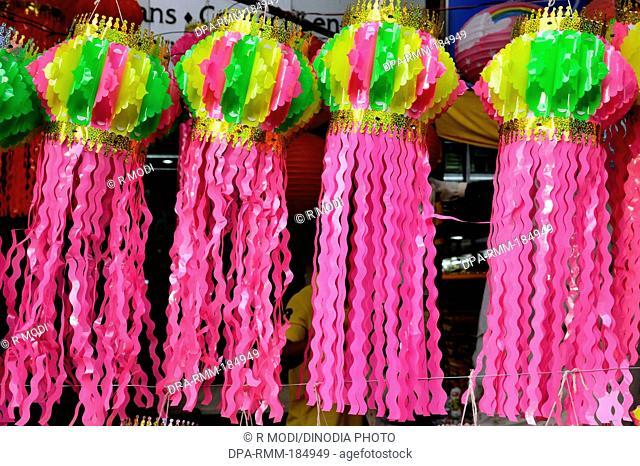 Lanterns hanging for sale in diwali Festival at Mumbai Maharashtra India