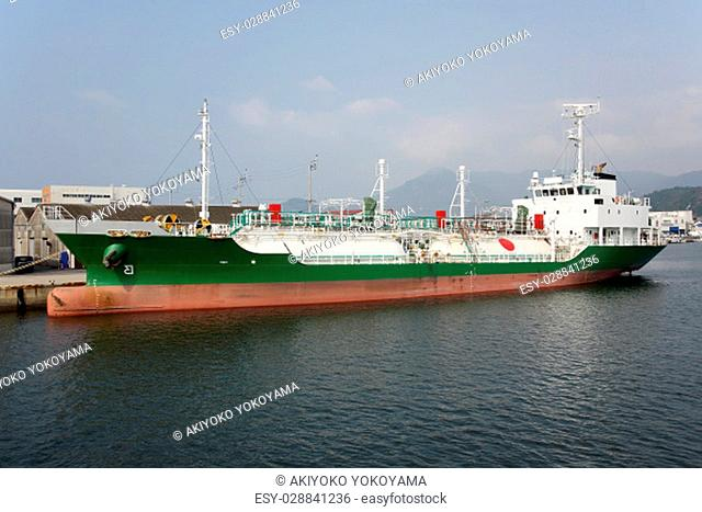 View of LNG cargo ship docked in the por