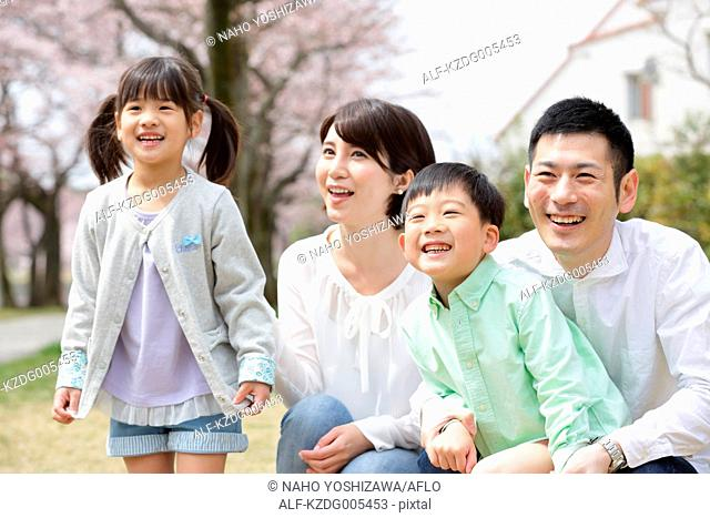 Japanese family with cherry blossoms in a city park