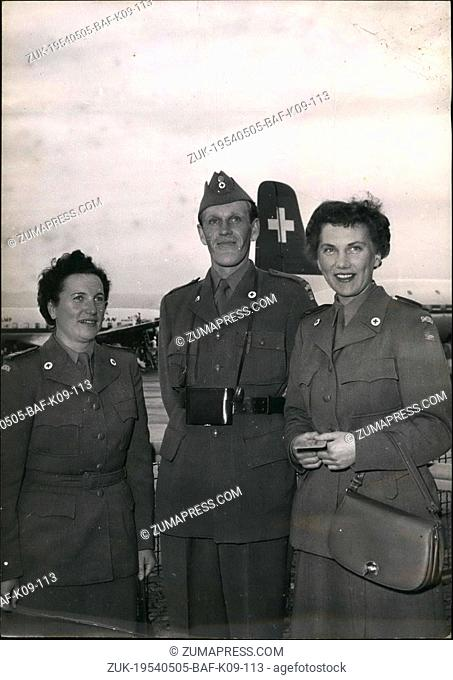 May 05, 1954 - Swedish Red Cross To Help Korean War Victims: Three Of The Members Of The Swedish Red Cross Photographed At The Geneva Airport On The Way To...
