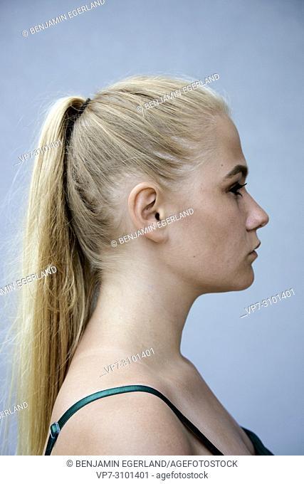 Portrait of teenage girl, 13 years old, Danish ethnicity