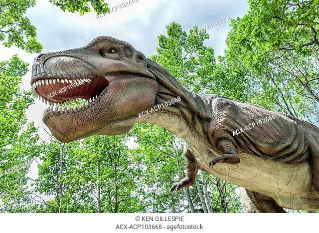 Tyrannosaurus Rex at Dinosaurs Alive, life-size animatronic dinosaur, Assiniboine Park Zoo, Winnipeg, Manitoba, Canada