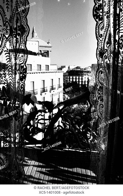 Passeig de Gracia view from Casa Mila, La Pedrera, Barcelona, Catalonia, Spain