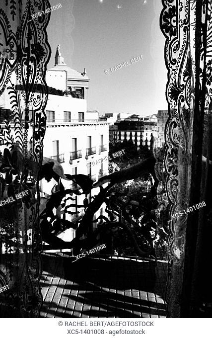 Passeig de Gracia view from Casa Mila, La Pedrera, Barcelona, Catalonia, Spain