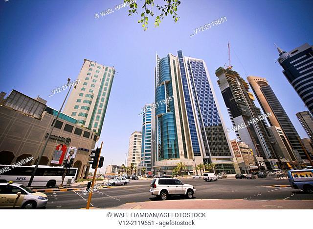 Modern Skyscraper, Street view in Kuwait city