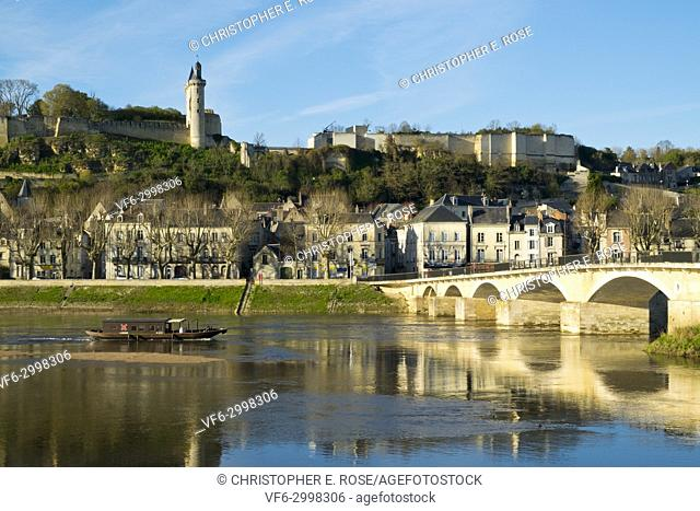 Chinon town and chateau on the banks of the Vienne river on a sunny spring afternoon, Indre-et-Loire, France
