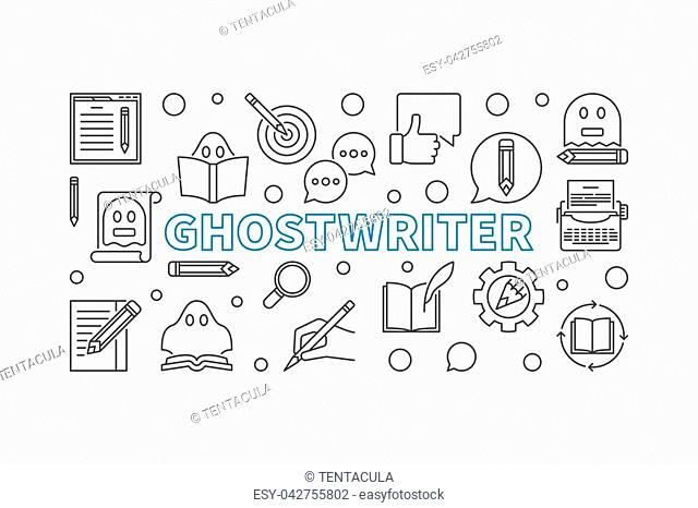 Ghostwriter vector horizontal banner or illustration made with ghostwriting thin line icons on white background