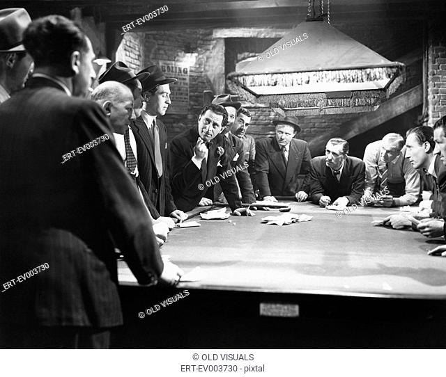Mobsters meeting around pool table All persons depicted are not longer living and no estate exists Supplier warranties that there will be no model release...